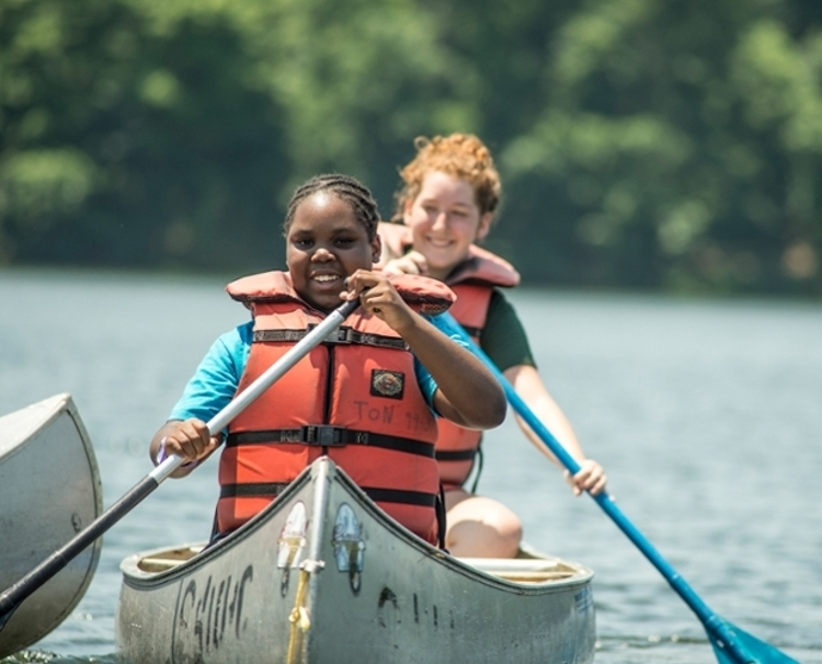 Kids Rowing Canoe